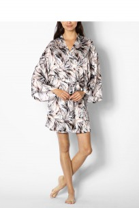 Long sleeved, satin, kimono-style dressing gown