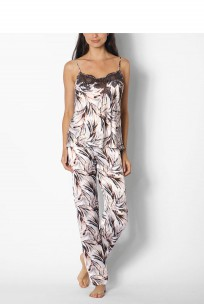 Two-piece leaf print satin pyjamas/jumpsuit - coemi-lingerie Izzy range