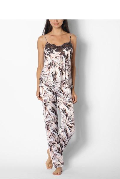 Jumpsuit bzw. zweiteiliger Pyjama aus Satin mit Blätterdruck - Reihe Izzy