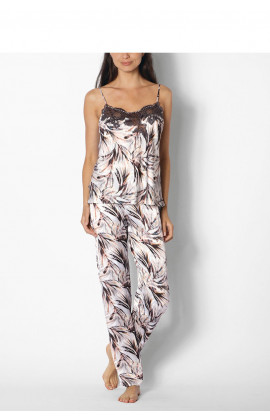 Two-piece leaf print satin pyjamas/jumpsuit - coemi-lingerie