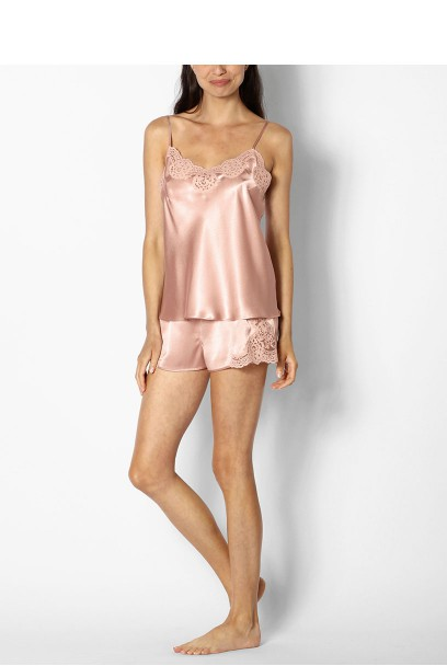 Two-piece satin nightset with thin straps and lace trim - Roselie range