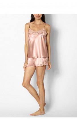 Two-piece satin nightset with thin straps and lace trim