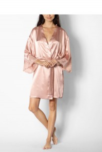Knee-length satin dressing gown with a wide band of lace on the cuffs