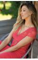 Short-sleeved knee-length loungewear nightdress - Allure range