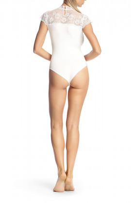 Short-sleeved bodysuit with crew neck and lace insert