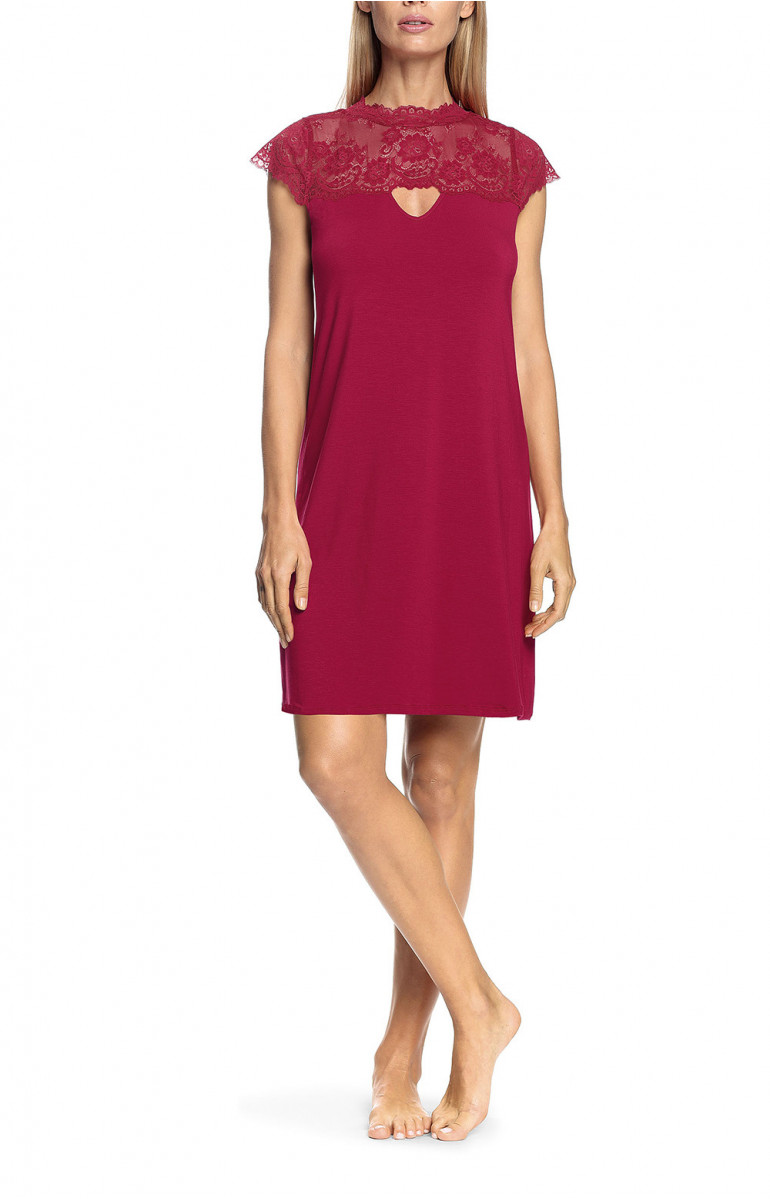 Loungewear nightdress with short sleeves and lace crew neck