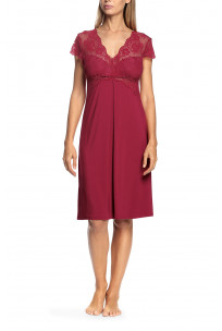 Short-sleeved nightdress with V-shaped neckline