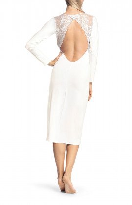 Long, long-sleeved nightdress with lace inserts and wide cut at the back