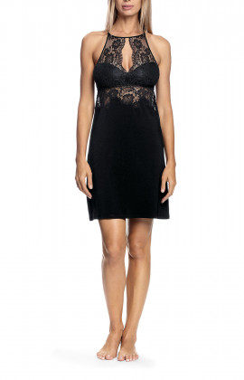 Halterneck nightdress with lace inserts on the bust and back - Aria range