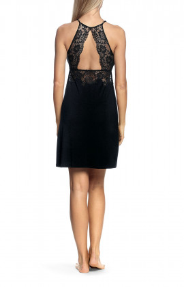 Halterneck nightdress with lace inserts on the bust and back