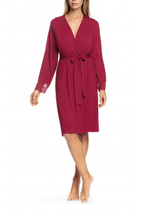 Long-sleeved robe with lace inserts on the back and cuffs - Aria range