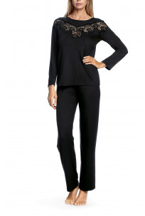 Long-sleeved pyjamas with lace inlay on the bust - Aria range