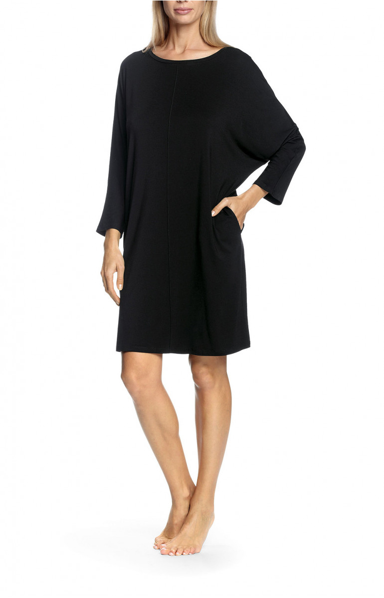 Long-sleeve nightdress with bat lace motif on the back