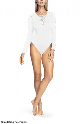 Long-sleeved bodysuit with lace inserts on the neckline and shoulders