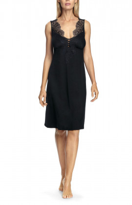 Sleeveless nightdress with lace-trimmed V-shaped neckline and backline - Valentina range