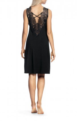 Sleeveless nightdress with lace-trimmed V-shaped neckline and backline