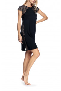 Short, short-sleeved nightdress with lace inserts on the shoulders - Valentina range
