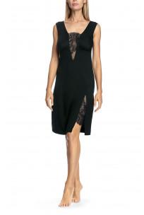 Elegant sleeveless knee-length nightdress with lace inserts - Valentina range