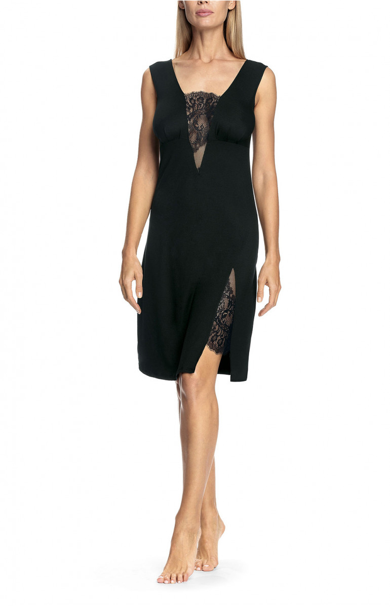 Elegant sleeveless knee-length nightdress with lace inserts