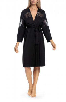 Long-sleeved robe with lace inlay on front, sleeves and back