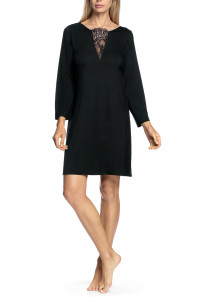 Long-sleeved or three-quarter sleeved nightdress with round, lace-trimmed neckline - Valentina range