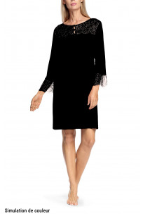 Buttoned round neck nightdress with lace inserts and three-quarter sleeves