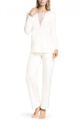 Pyjamas comprising round neck top with lace insert on the neckline