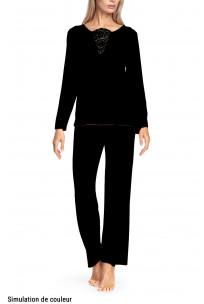 Pyjamas comprising round neck top with lace insert on the neckline - Valentina range