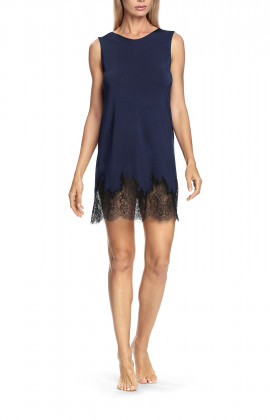 Round neck nightdress with lace trim and matching ribbon tie at the back - Valentina range