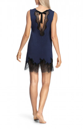 Round neck nightdress with lace trim and matching ribbon tie at the back