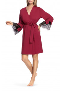 Knee-length robe with flared lace cuffs - Valentina range