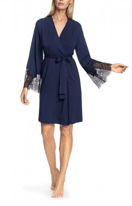 Knee-length robe with flared lace cuffs