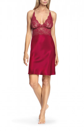 Nightdress with thin lace straps along and under the bust and around the back