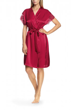 Robe with short, lace-trimmed sleeves