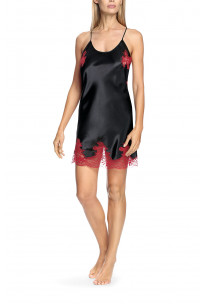 Satin and lace nightdress with thin straps that cross at the back - Eternal Glam tange