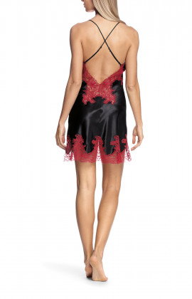 Satin and lace nightdress with thin straps that cross at the back - Eternal Glam