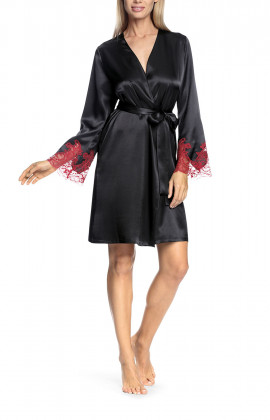 Robe with long, lace-trimmed sleeves - Eternal Glam range