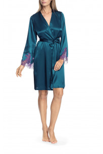 Robe with long, lace-trimmed sleeves