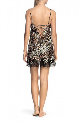 Sexy leopard-print nightdress with thin straps, lace trim and corset back