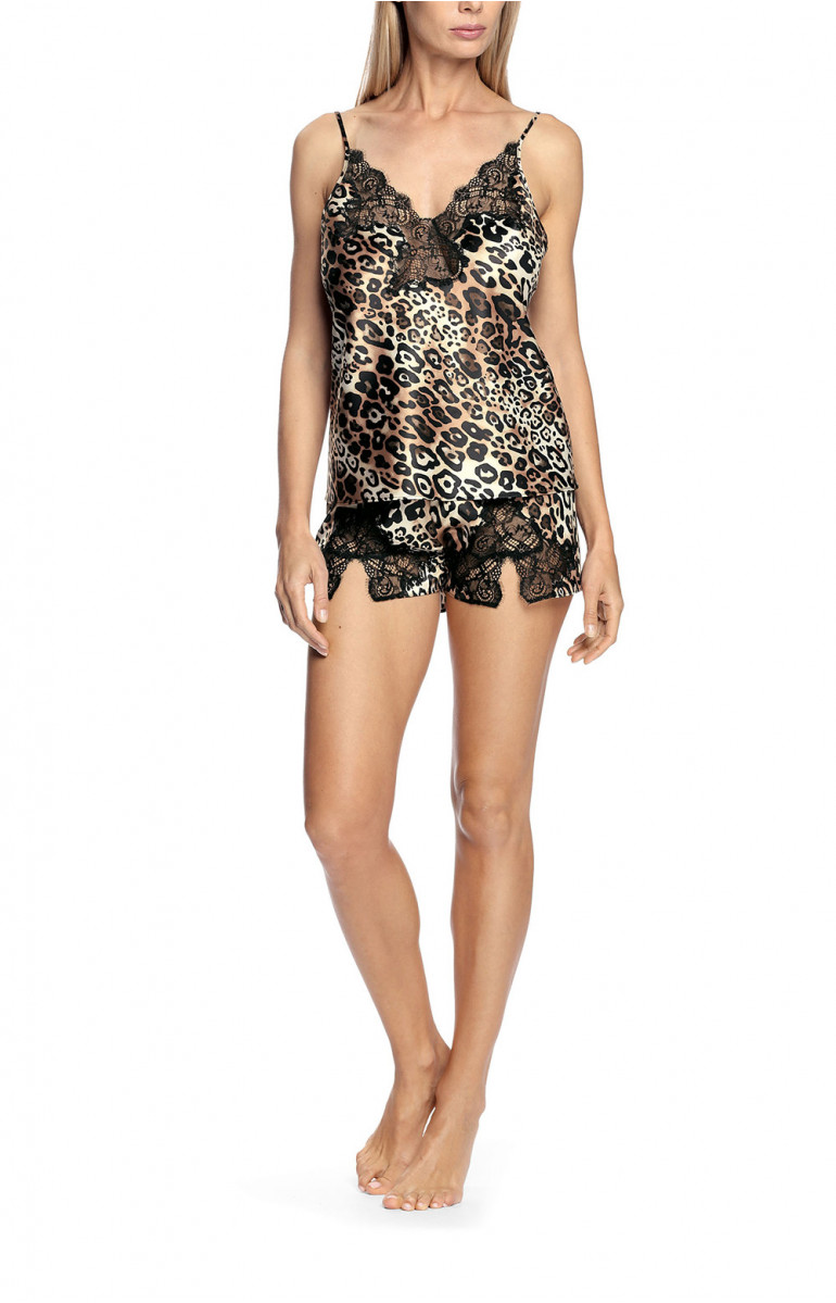 Leopard-print and lace top and French knicker nightset