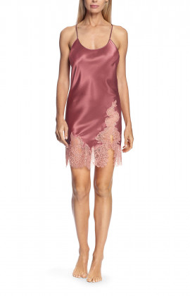 Satin and lace nightdress with thin straps that cross at the back - Chiara range