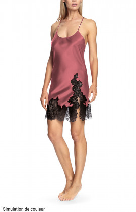 Satin and lace nightdress with thin straps that cross at the back - Chiara