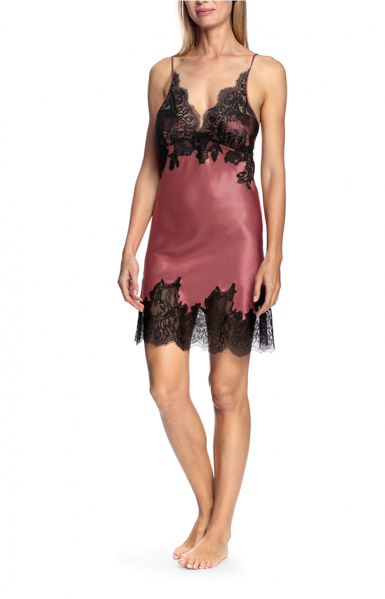 Sexy satin and lace nightdress with thin straps and corset back - Chiara