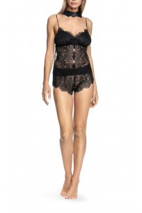 Top, French knickers and lace false collar necklace nightset