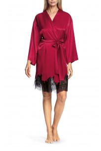 Satin and lace flared-sleeve kimono-style robe - Chiara range