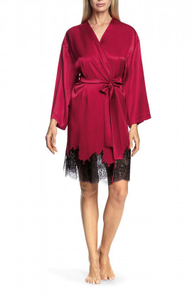 Satin and lace flared-sleeve kimono-style robe