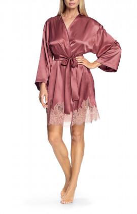 Satin and lace flared-sleeve kimono-style robe - Chiara