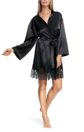 Satin and lace flared-sleeve kimono-style robe - Chiara