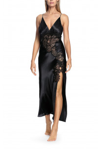 A long satin and lace nightdress with thin straps that cross at the back - Chiara range