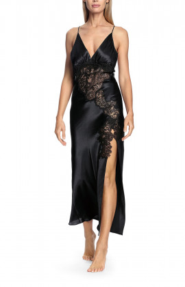 A long satin and lace nightdress with thin straps that cross at the back